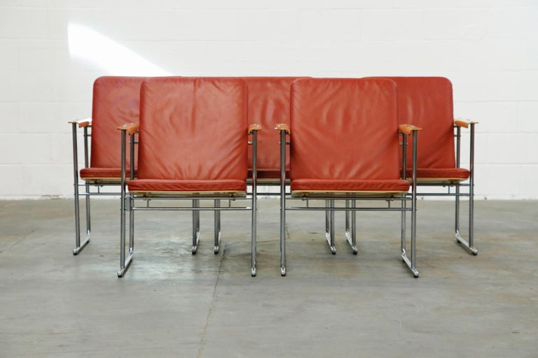 Incredible set of five collectible 'Skaala' lounge armchairs by Yrjo¨ Kukkapuro for Avarte, made in Finland, circa 1970. Featuring original burgundy red leather seat cushions, birch and tubular steel frames with sleigh legs capped with rubber