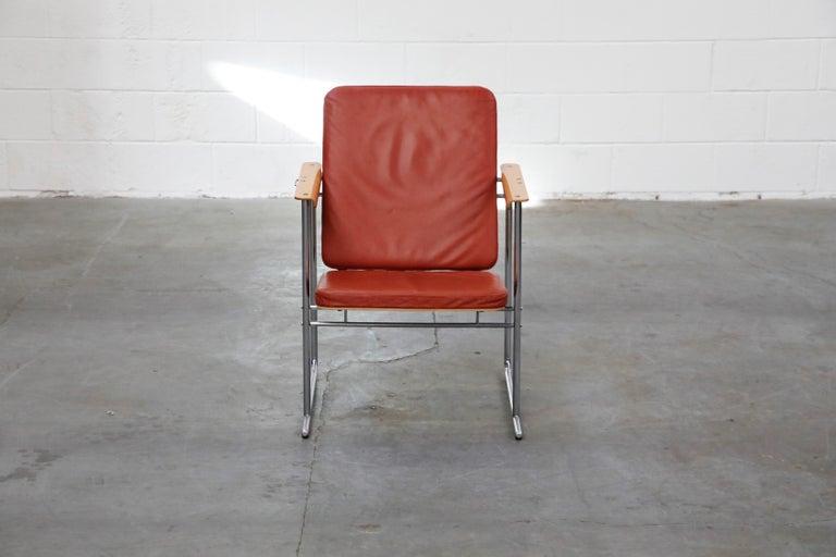 Finnish Yrjö Kukkapuro 'Skaala' Leather Lounge Chairs for Avarte, Finland, 1970s For Sale