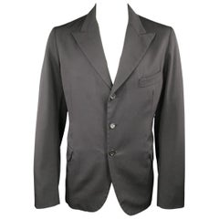 Y's by YOHJI YAMAMOTO 42 JP 4 Black Wool Peek Lapel Sport Coat / Blazer Jacket