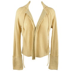 Y's by YOHJI YAMAMOTO Size M Beige Wool Blend Tie Collar Cuffed Cardigan Sweater