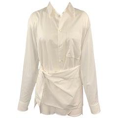 Y's by YOHJI YAMAMOTO Size M White Cotton Wrap Around Shirt
