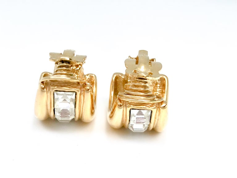 Contemporary YSL 1980s Vintage Clip on Statement Earrings  For Sale