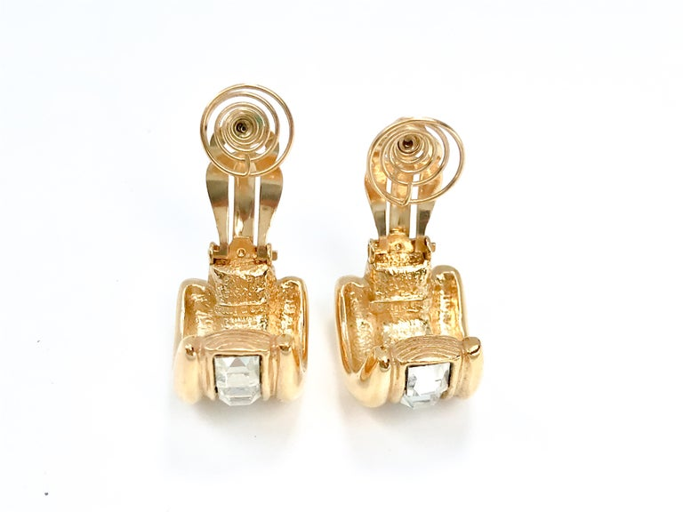 YSL 1980s Vintage Clip on Statement Earrings  For Sale 1