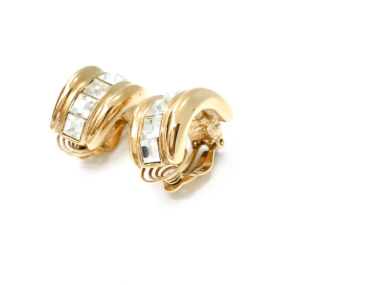 YSL 1980s Vintage Clip on Statement Earrings  For Sale 3