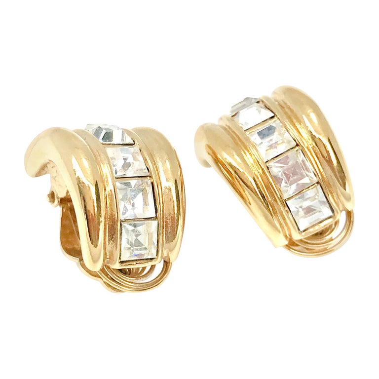 YSL 1980s Vintage Clip on Statement Earrings  For Sale