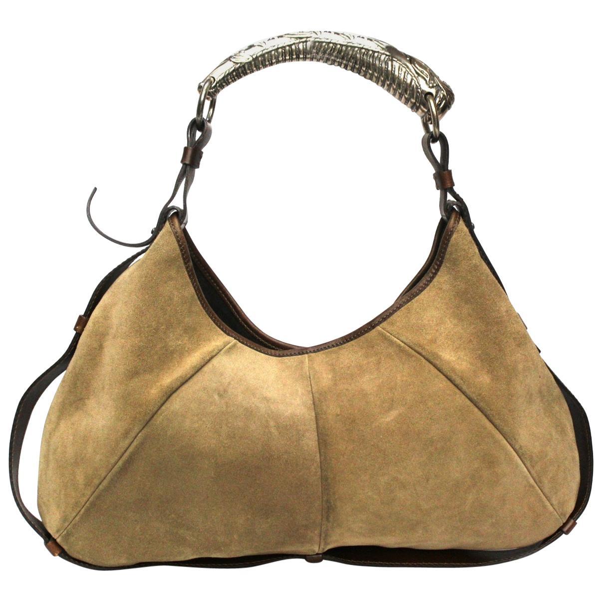YSL Beige Leather/Suede Mombasa Bag