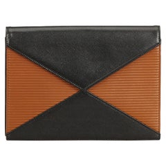 YSL Black Leather Bicolor Clutch