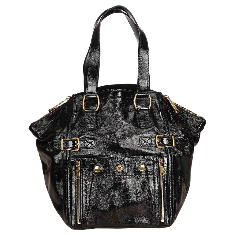 Ysl Black Patent Leather Downtown Tote At 1stdibs