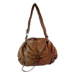 YSL Brown Leather Mombasa Hobo Bag