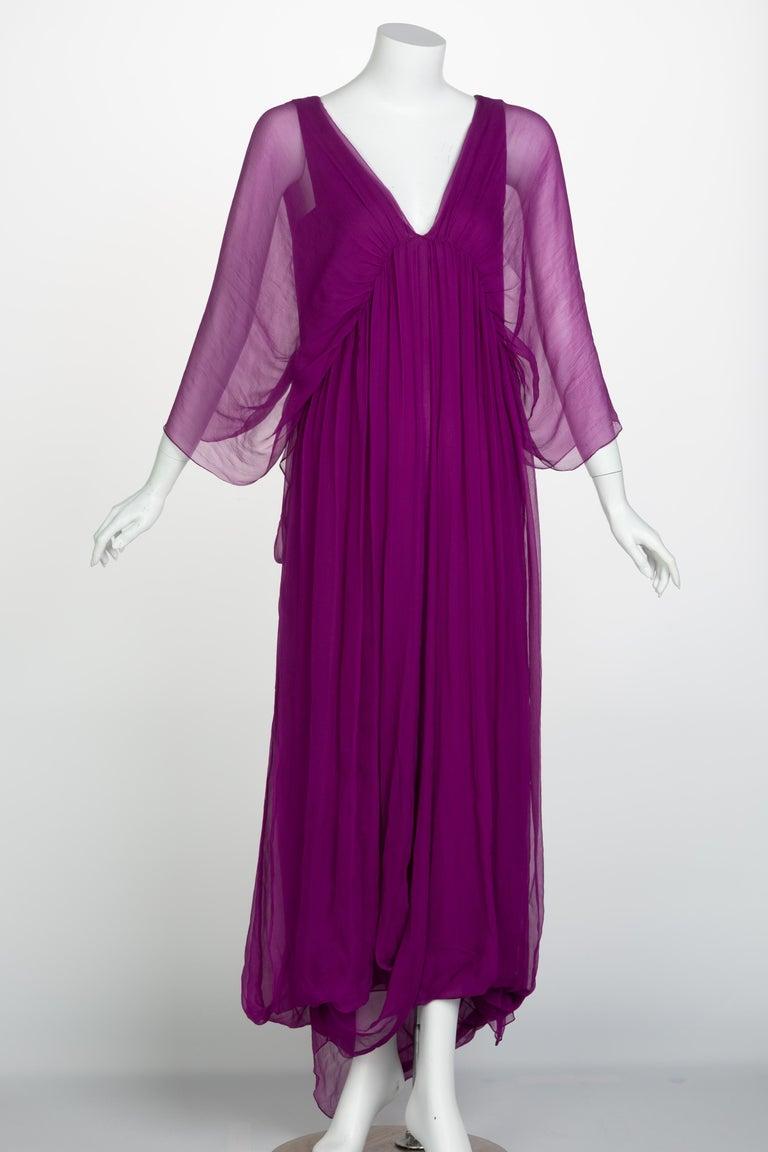 Purple  Yves Saint Laurent Edition Soir Chiffon Evening Dress circa 2019 For Sale