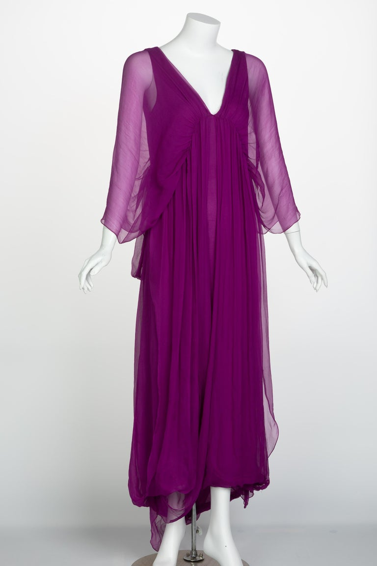 Yves Saint Laurent Edition Soir Chiffon Evening Dress circa 2019 In Excellent Condition For Sale In Boca Raton, FL