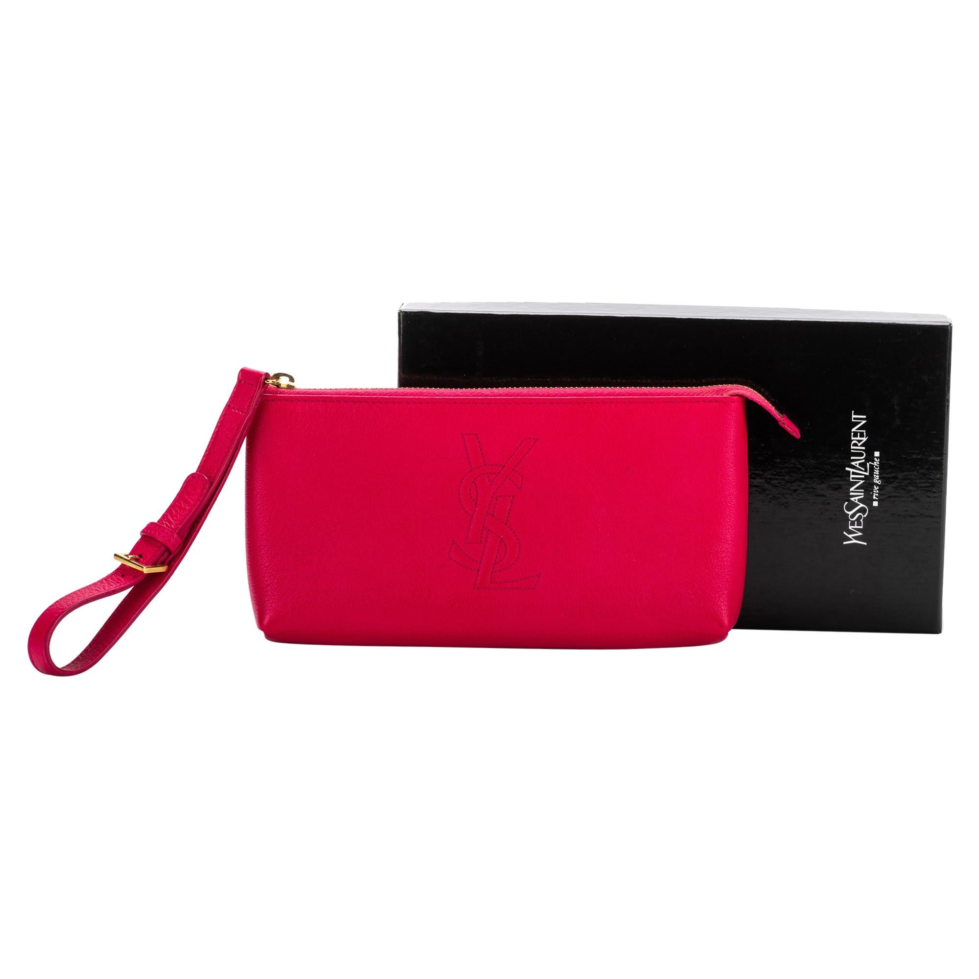YSL Fuchsia Leather Wristlet Small Bag