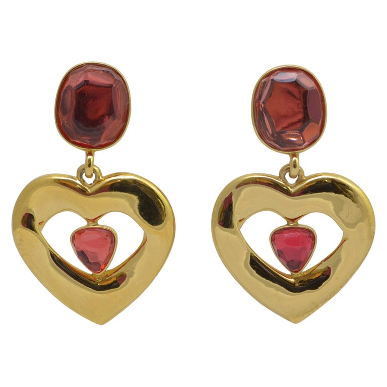 YSL Gold Clip-On Earrings with Heart Motif For Sale