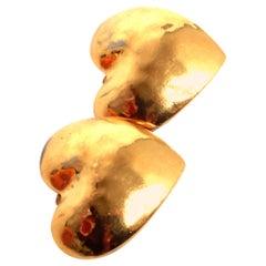 YSL gold heart clip on earrings