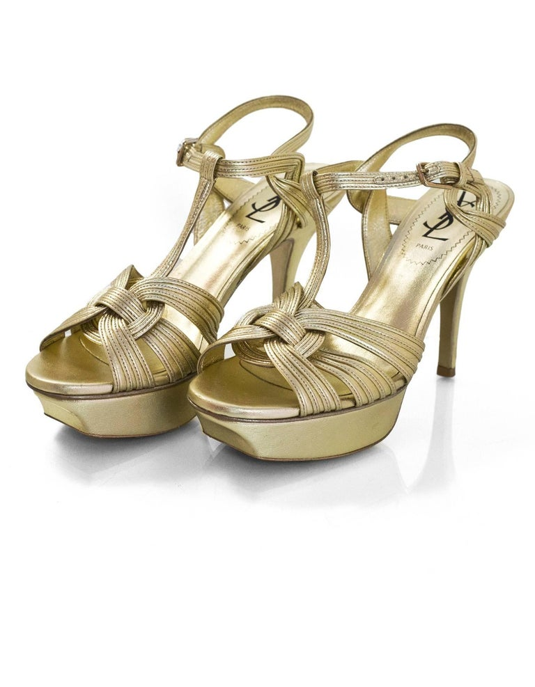 0291aa61ef7 YSL Gold Leather Tribute 75 Sandals Sz 36 Made In: Italy Color: Gold  Materials