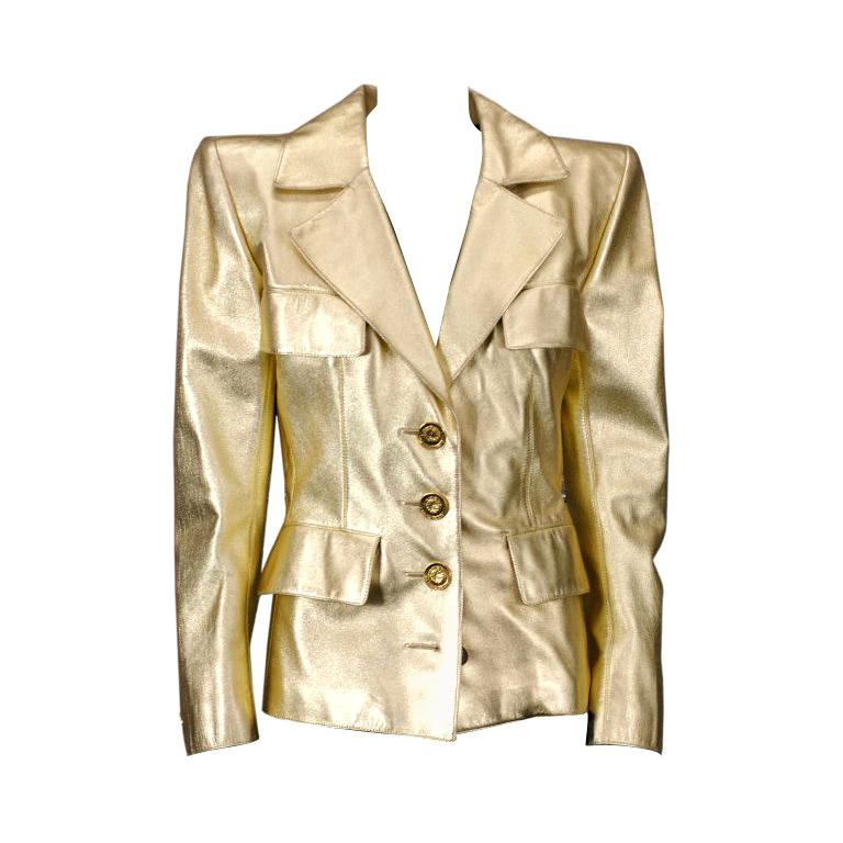 Haute couture gold leather jacket, ca. 1986, offered by Vintage Luxury