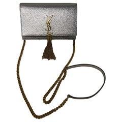 YSL Kate Silver Metallic and Gold Crossbody Bag