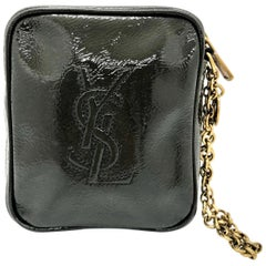 YSL Monogram Gray Patent Leather Wristlet w/ Gold Metal Chain and Hardware
