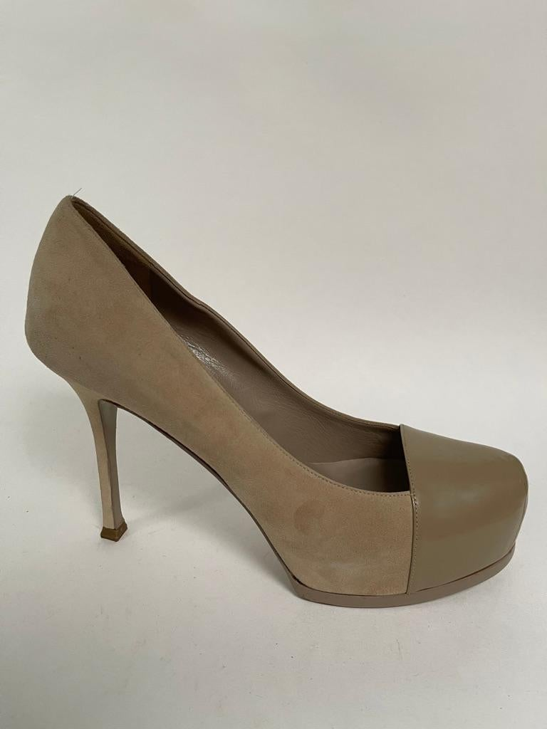 Nude suede platform with leather toe cap, stiletto heel.