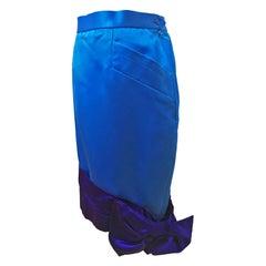 YSL Rive Gauche Bicolour Royal Blue Satin Skirt With Bow circa 1985