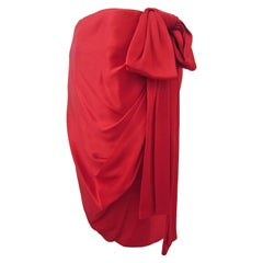 YSL Rive Gauche Royal Red Satin Skirt With Bow 1985