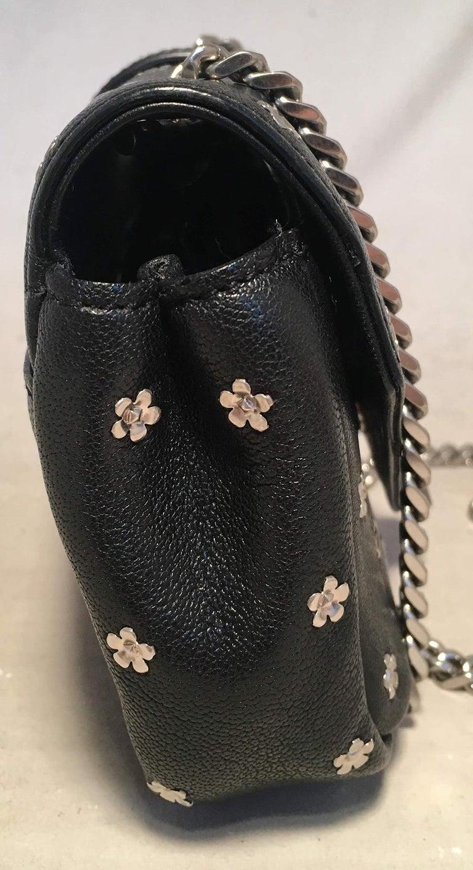 Ysl Saint Laurent Black Leather Flower Studded Small