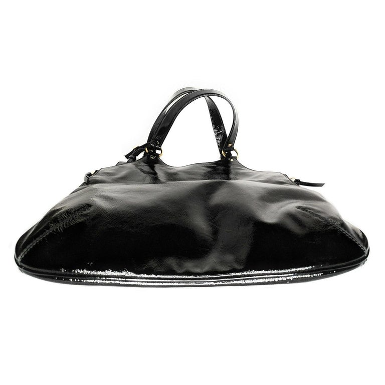 Women's YSL Saint Laurent Patent Leather Tribute Tote Black For Sale