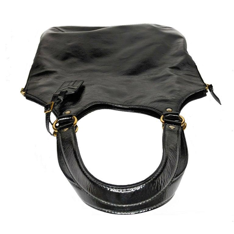 YSL Saint Laurent Patent Leather Tribute Tote Black For Sale 1