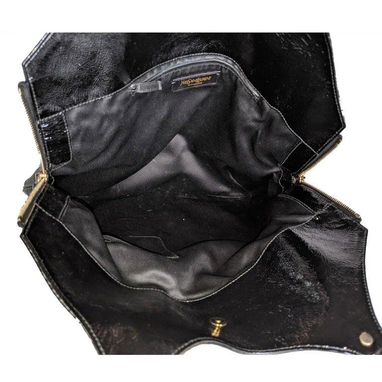 YSL Saint Laurent Patent Leather Tribute Tote Black For Sale 2