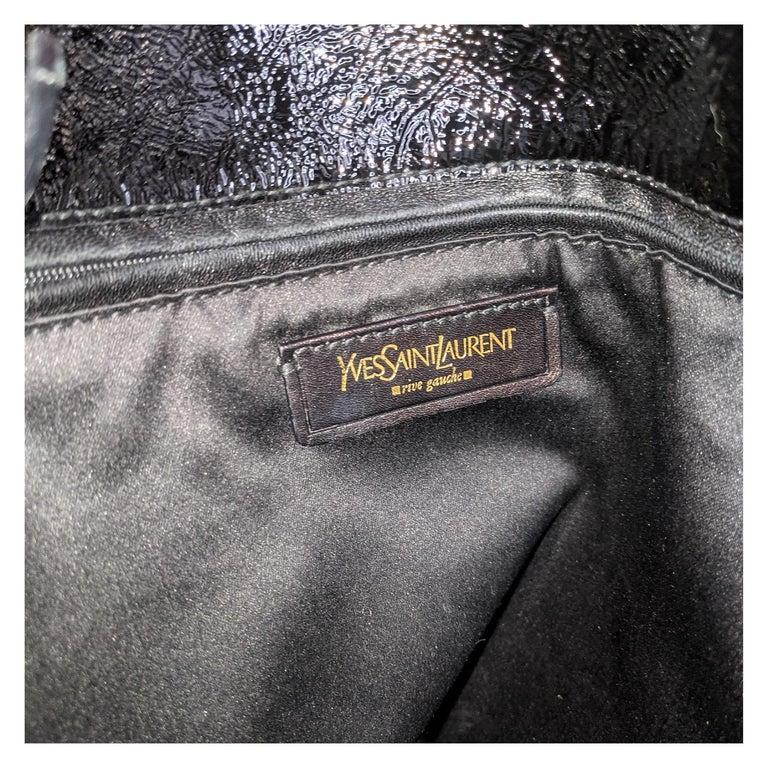 YSL Saint Laurent Patent Leather Tribute Tote Black For Sale 3