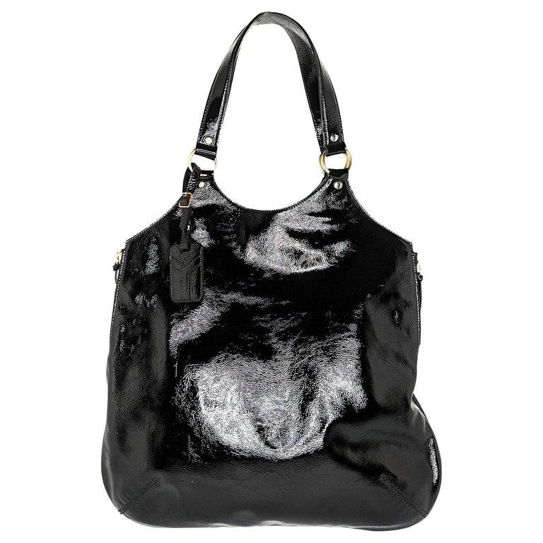 YSL Saint Laurent Patent Leather Tribute Tote Black For Sale