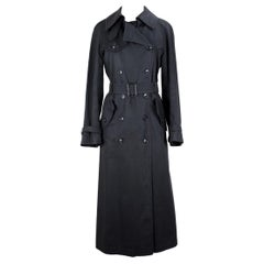 YSL Yves Saint Laurent Black Cotton Trench Coat, circa 1970s Size up to M