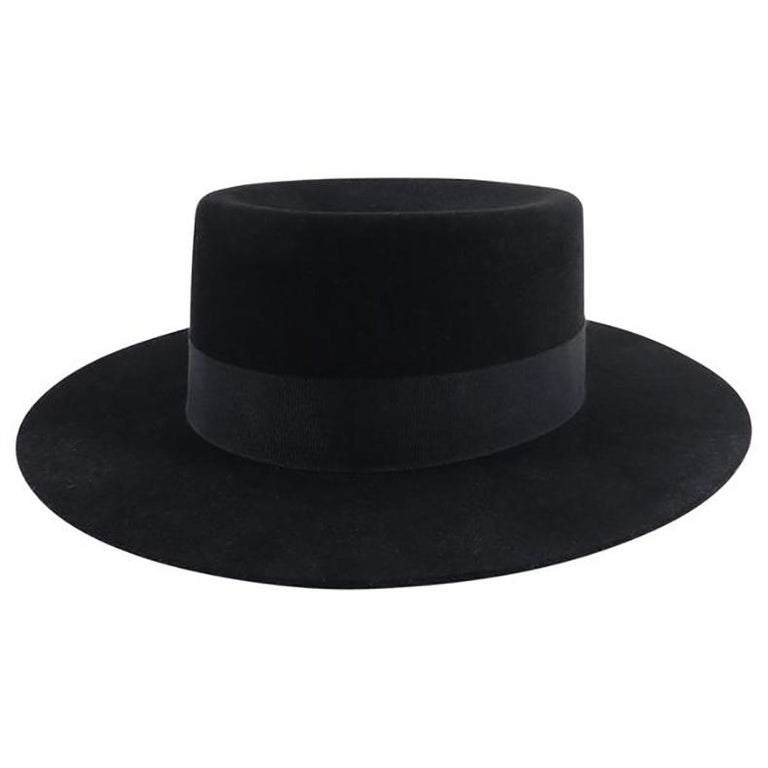 737dedd9544 YSL Saint Laurent Spring 2015 Runway Black Felt Hat at 1stdibs