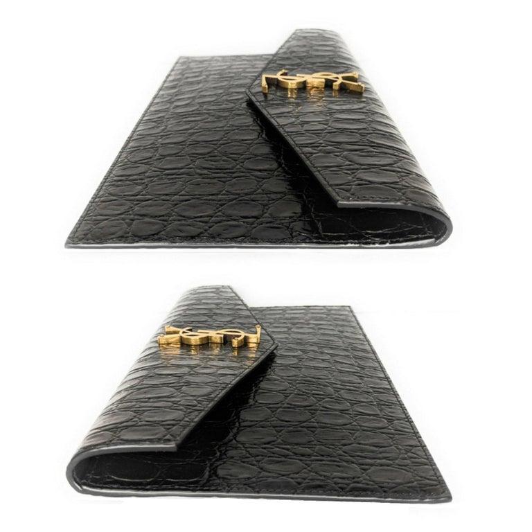 Black YSL Saint Laurent Uptown Croc-effect Envelope Pouch For Sale