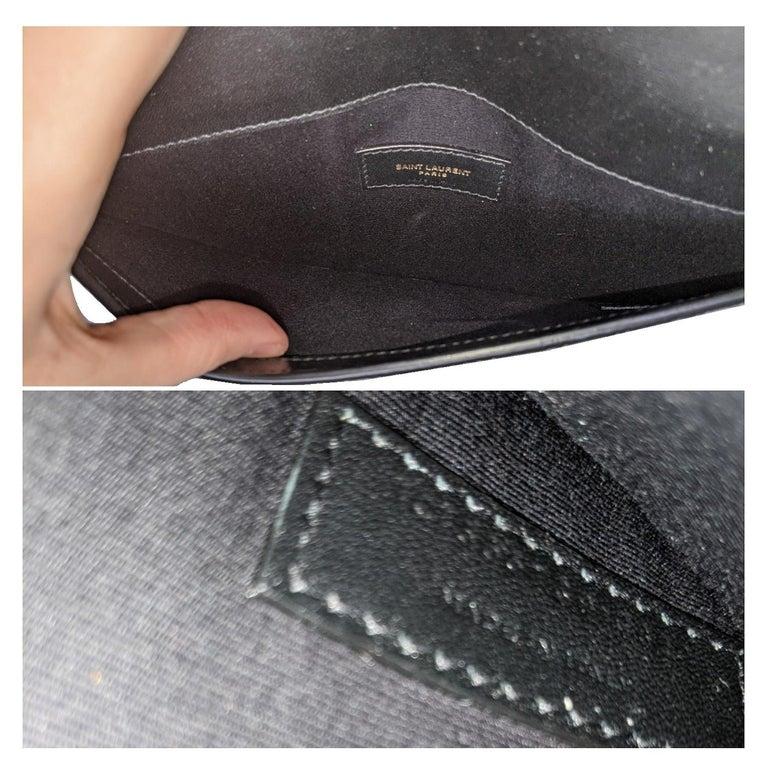 YSL Saint Laurent Uptown Croc-effect Envelope Pouch For Sale 1