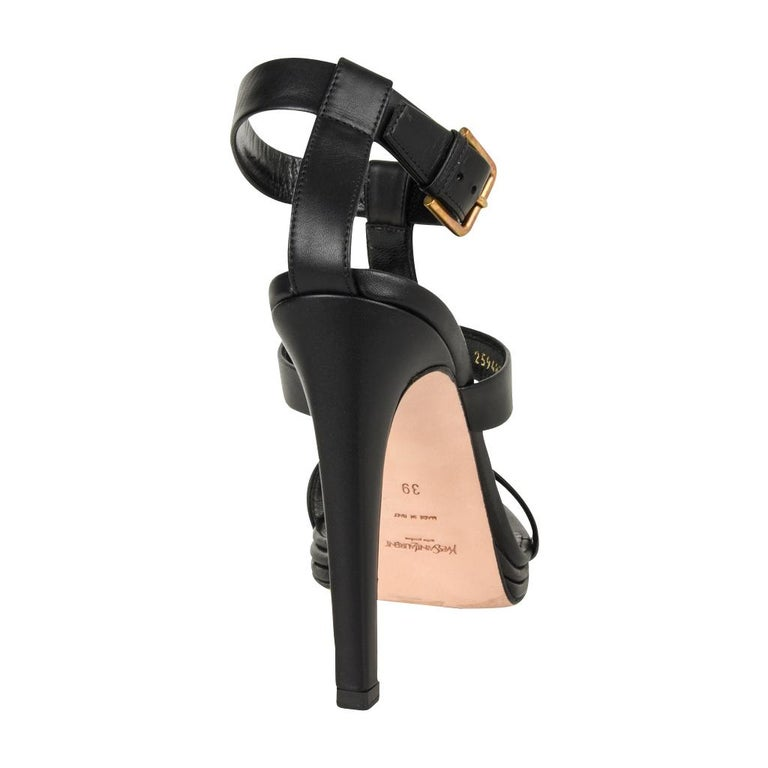 YSL Shoe Bold T Ankle Strap Strap Platform Black Leather 39 / 9 For Sale 1
