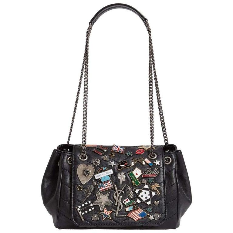 big discount sale reputation first on feet at YSL Small Nolita Black Leather Badge Embellished Shoulder Bag