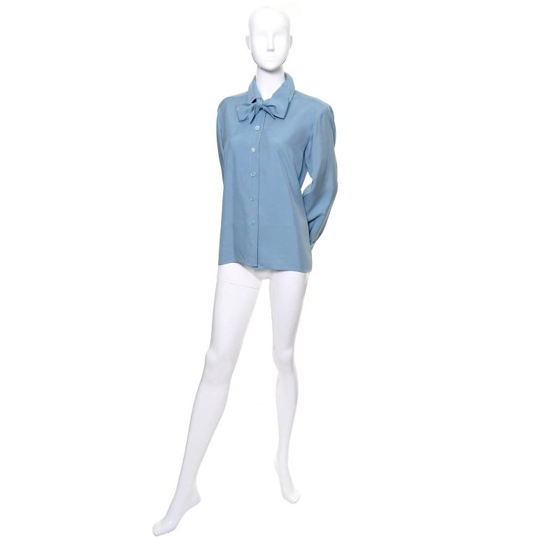 YSL Vintage Bow Blouse Blue Raw Silk Yves Saint Laurent France Size 38 In Excellent Condition For Sale In Portland, OR