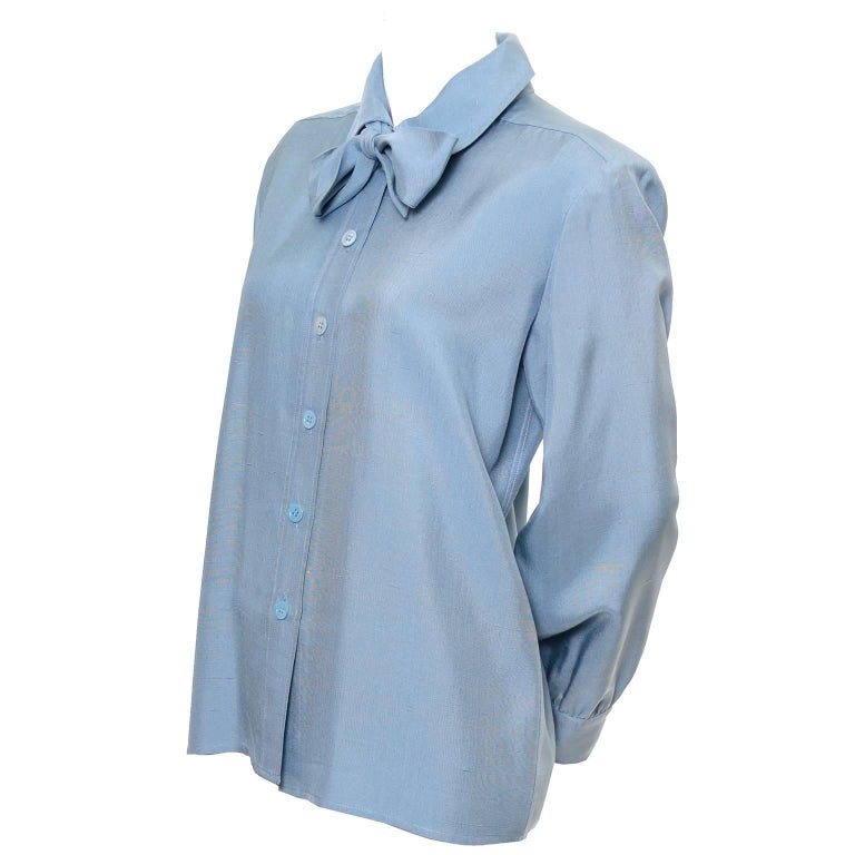 YSL Vintage Bow Blouse Blue Raw Silk Yves Saint Laurent France Size 38 For Sale 1