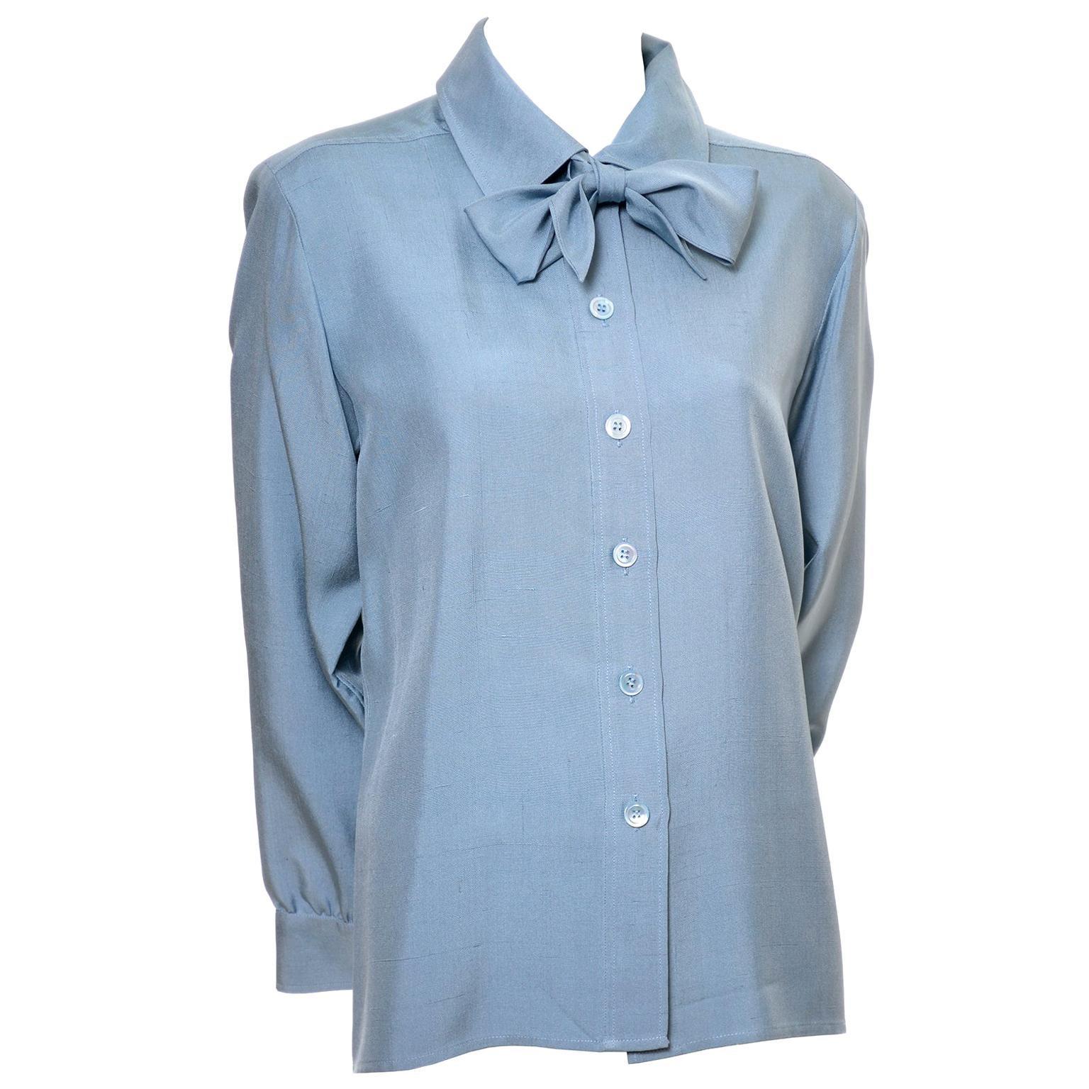YSL Vintage Bow Blouse Blue Raw Silk Yves Saint Laurent France Size 38