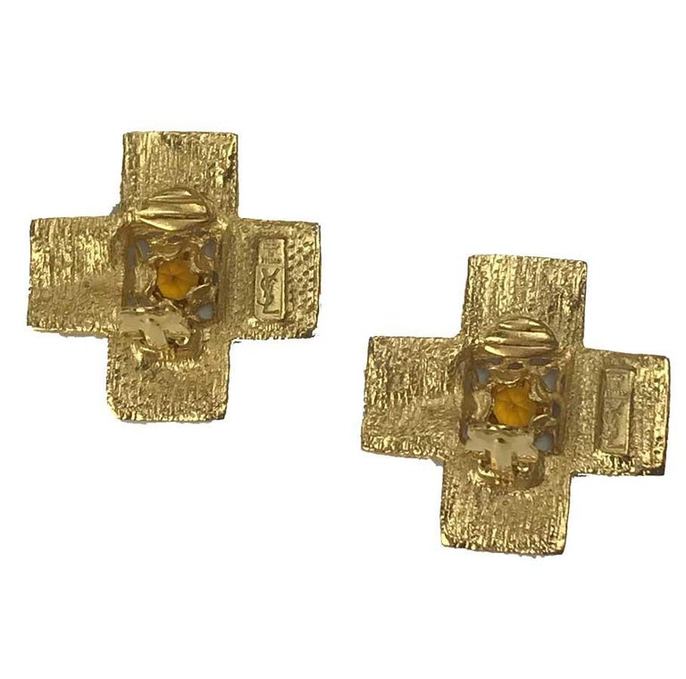 YSL Vintage Cross Clip-on Earrings in Gilt Metal and Red Molten Glass In Good Condition For Sale In Paris, FR