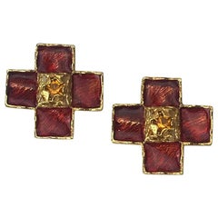 YSL Vintage Cross Clip-on Earrings in Gilt Metal and Red Molten Glass