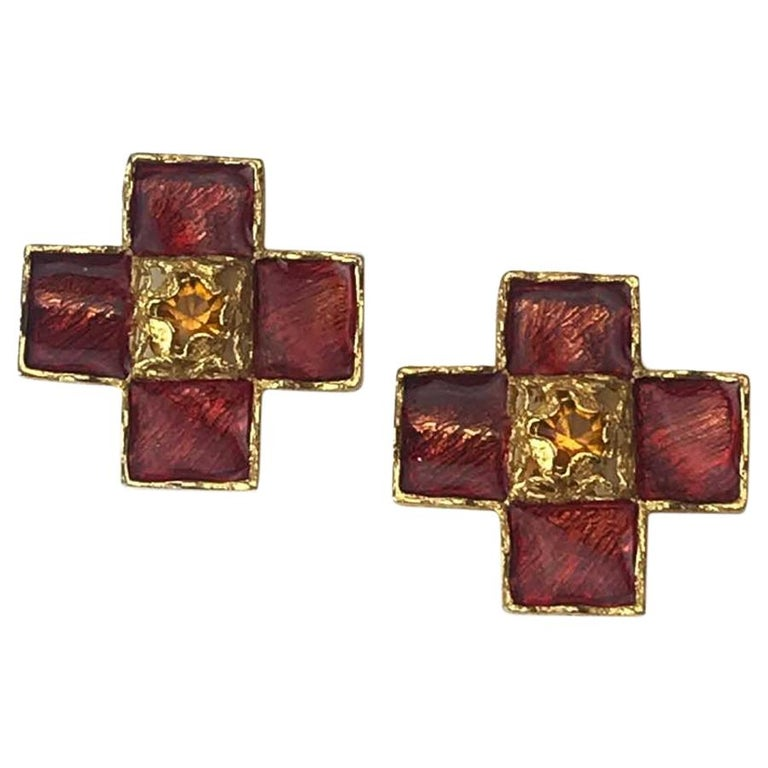 YSL Vintage Cross Clip-on Earrings in Gilt Metal and Red Molten Glass For Sale