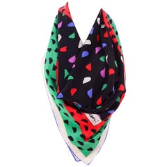 YSL Vintage Silk Scarf in Red Green Pink Black & White Abstract Print