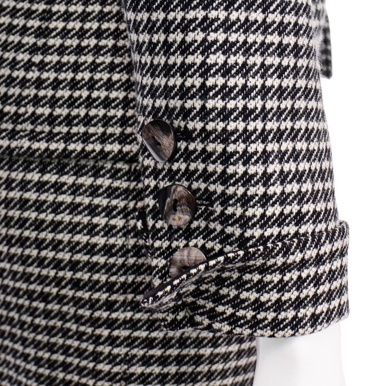 YSL Vintage Suit Houndstooth Wool Skirt Blazer Yves Saint Laurent Rive Gauche For Sale 5