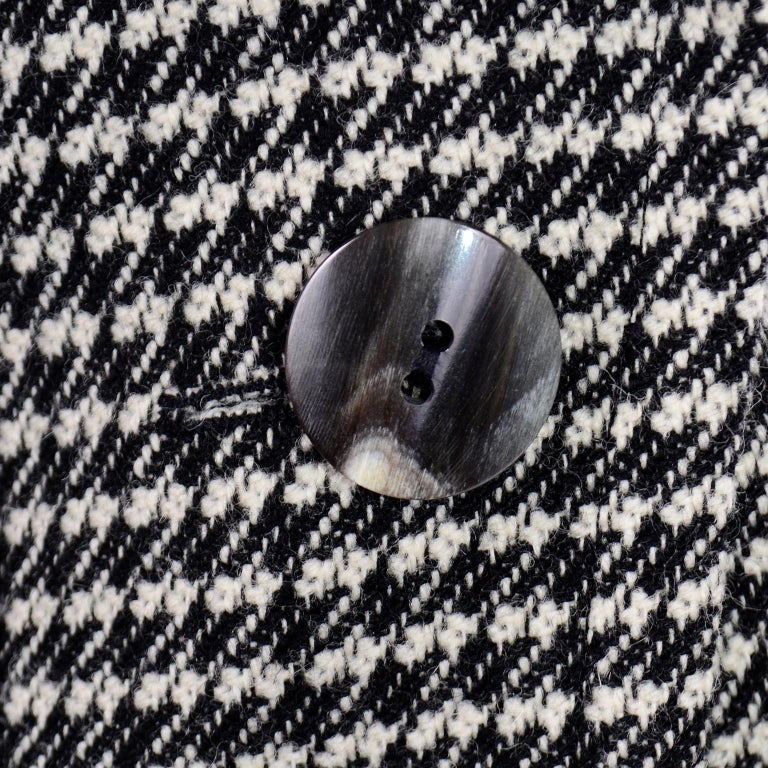 YSL Vintage Suit Houndstooth Wool Skirt Blazer Yves Saint Laurent Rive Gauche For Sale 6