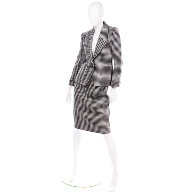 Black YSL Vintage Suit Houndstooth Wool Skirt Blazer Yves Saint Laurent Rive Gauche For Sale