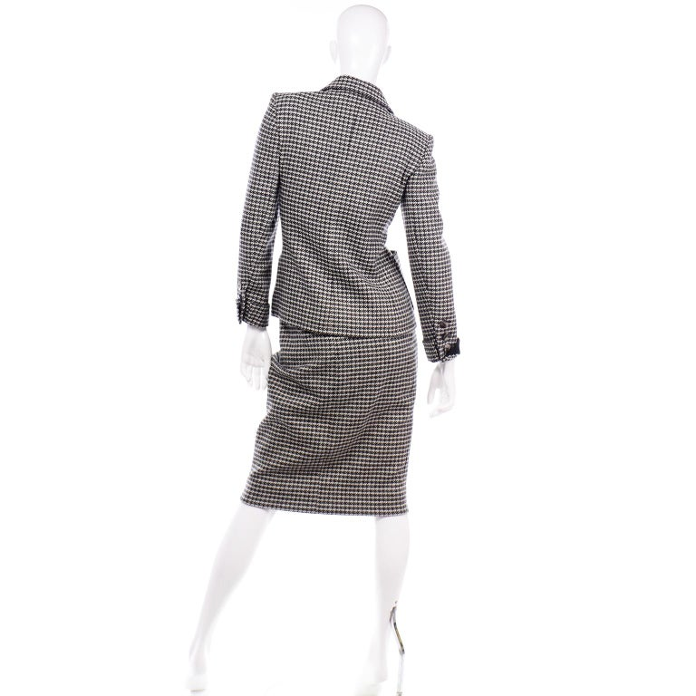 YSL Vintage Suit Houndstooth Wool Skirt Blazer Yves Saint Laurent Rive Gauche In Excellent Condition For Sale In Portland, OR