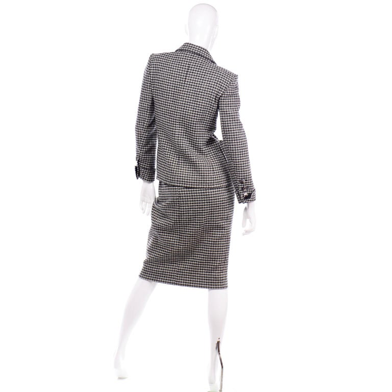 Women's YSL Vintage Suit Houndstooth Wool Skirt Blazer Yves Saint Laurent Rive Gauche For Sale
