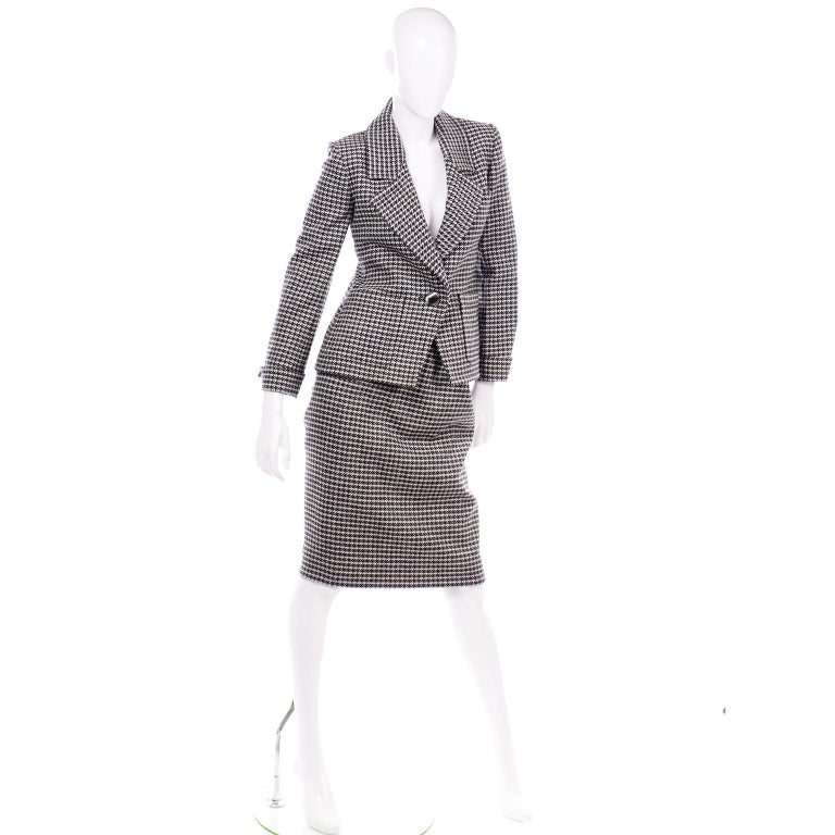 YSL Vintage Suit Houndstooth Wool Skirt Blazer Yves Saint Laurent Rive Gauche For Sale 1